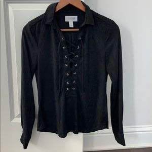 Lace Up Blouse in Black Sz Small from NA-KD suede